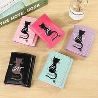 Wallets Women Simple Cat Short Wallet Coin Purse Card Holders Handbag Package#P30