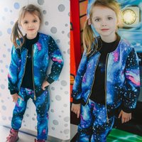 Clothing Sets Universe Girls Spring Autumn Fashion Starry Sky Hooded Zipper Jacket And Pants Casual Tracksuit Kids Clothes 2-10Y