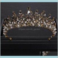 الباروك التيجان السوداء الكريستال حجر الراين الذهب الأميرة تاج ل تاج اكسسوارات الزفاف diadem ii9vh rn2hp