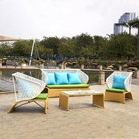 Sofà in rattan all'aperto Set da 3 pezzi Set Modulare Mobili da patio in vimini Arredamento Air Air Garden di cui 3 sedie 2 cuscini Sedile Tavolino da caffè