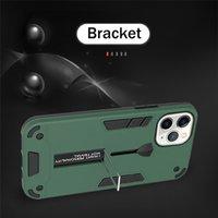 Cas de téléphone personnalisé pour iPhone 12 11 XS MAX XR x 8 7 plus 2in1 Porte-doigt en caoutchouc et boîtier portable de kick utilité en métal