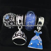 925 Sterling Silver Charms and Murano Glass Bead Set Fits European Pandora Jewelry Charm Bracelets- Cinderella's