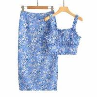 Skirts Summer Women's Flower Long Skirt Two-piece Vest High Waist Suit Fashion Casual 2021