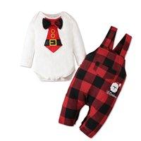 Baby Christmas Roupas Conjunto de Manga Longa Romper com Laço Gravata Calças Suspender Calças 2 Peças Criança Conjuntos Ins Xmas Outono vestido para menino