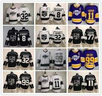 로스 앤젤레스 킹스 레트로 하키 유니폼 8 Drew Doughty 11 anze Kopitar 32 Jonathan 빠른 99 Wayne Gretzky 77 Jeff Carter 화이트 블랙 남성 보라색 골든