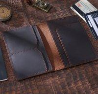 Passport Cover Holder Men Women Unisex Retro Genuine Cowhide Plain Hand manual ID Card