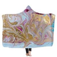 Psychedelic Art Marble Swirl blanket water color flowing gold Children Hooded Blanket Soft Warm Sherpa Fleece wearable Blankets GWE5610