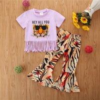 Kızlar Kıyafetler Bebek Kız Giysileri Yaz Çocuk Setleri Toddler Kısa Kollu Karikatür Pamuk T Shirt Flared Pantolon 2 adet 0-4Y 709 X2