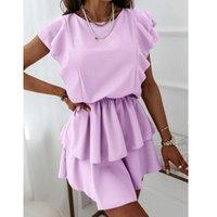 Casual Dresses Women Elegant Double Layer Ruffles Slimming 2021 Stylish Sleeveless Summer Mini Dress Loose Vestidos