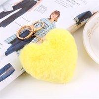Nouvelle Arrivée Fashion Coeur Shape Imitation de lapin Fourrure de fourrure Clé Chaîne Ball Mobile Téléphone Porte-clés Porte-clés Femme Sac Pendentif Keychain577 Q2