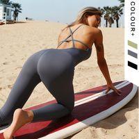 Сексуальная красивая спина спортивный костюм йога набор фитнес-комбинезон спортивная одежда для женщин тренажерный зал беговые тренировки тренировки спортивный костюм женский