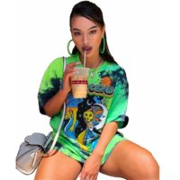 R7D 2021 Sommer frauenscoat T-shirt Top Frauen Graffiti Print Rundhals Kurzarm Lose T-Shirt