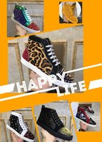 Comfort designer Mens Women Studded Spike Casual Shoes Platform Red Sole Bottom Leather Suede Graffiti Trainer Sneakers Chaussure