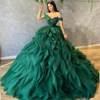 Custom Made Heavy Ruffles Evening Dresses for Women Sequined Off the Shoulder Sexy Prom Gowns Formal Dress