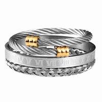 3 teile / satz römische zimoral männer armband handgemacht edelstahl seil schnalle offene armreifen pulseira design schmuck