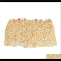 Hawaiian Luau Beige Flower Grass Garden Beach Party Table Gonna Cover Decor BK6ZN Noabf