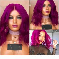 New deep part brazilian hair purple Short Wavy Bob Wigs High Temperature Fiber rose red Synthetic Lace Front Wig For White Women