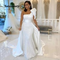One Shoulder White Mermaid Wedding Dress With Bow Satin And Sequined Overskirt Ribbons Bridal Gowns vestidos de novia