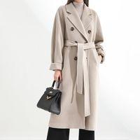 Women's Wool & Blends Winter Autumn Elegant Coats Blend Women Korean Fashion Long Vintage Minimalist Mid Length Overcoat Camel Cardigans