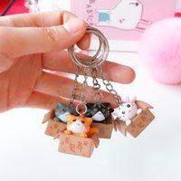 Cute Cat keychain Cartoon lucky Cat Keychain Self Defense Porte Clef Women pom KeyRing Car Trinket Key Chains Kids Toy Keyring