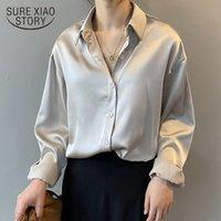 2021 Autumn Button Up Satin Silk Shirt Women Blusa Vintage Mujer Mangas blancas Mangas largas Femenino Sólido Camisas sueltas Blusas 11355