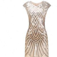 Vintage 1920s Flapper Gatsby Women Dresses O Neck Cap Sleeve Sequin Fringe Party Midi Vestidos Verano Summer