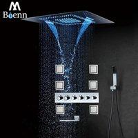 Conjuntos de ducha de baño M BOENN SISTEMA DE LLUVIA GRANDE FUERA DE AGUA LED CORTE CAMBIO CAMBIAR LOTENCIA LOTENER TERMOSTÁTICO BLACK Chrom
