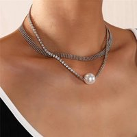 Pendant Necklaces Luokey Women Double Layer Thick Chain Cute Choker Necklace Gold Silver Color Pearl Lady Punk Goth Charm Jewelry