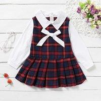 dress Summer Little Kid Baby Girls Beautiful Birthday Long Mouw Splice Plaid Strik Preppy Style # G30