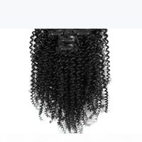 African American Afro Kinky Curl Clip In Hair Extensions 7PCS 16 Clips Peruvian Human Hair Natural Black Kinky Curly Clip In Hair Extensions
