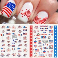 July 4th Nail Art Sticker American Independence National Day Flag Element Letter Windmill Decals