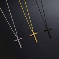 Collana con pendente in acciaio inox croce colore nero con catena per uomo e donna 261 W2