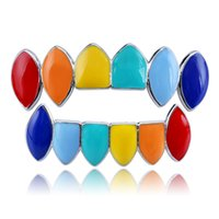 Colorful Teeth Grills Set Mixed Design Fake Tooth Grillz Hip-hop Cool Men Body Jewelry Rap Mouth Caps