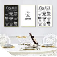 Paintings Cafe Shop Wall Art Decor HD2616 Nordic Coffee Menu Pictures Print Black White Canvas Painting