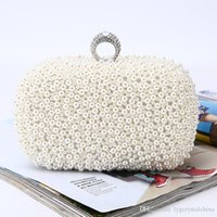 Pearl handbag bags Pure manual Handmade beaded cultch collocation matching the evening dress for bridal and lady wear woman bag
