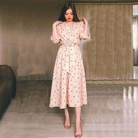 Vintage Polka Dot Baskı kadın Elbise Fener Kol V Boyun Zarif Bir Çizgi Partisi 2021 İlkbahar Yaz Wrap Rahat Maxi Elbiseler