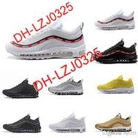 2021 97 الثلاثي الأحذية البيضاء المعدنية الذهب والفضة رصاصة الوردي رجل مدرب المرأة الرياضة أحذية رياضية حجم DH-X9
