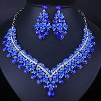 Luxus vollschmuckte Kristallglas Übertriebene Halskette Zweiteilige Ohrringe Set Naher Osten Afrikanische Brautschmuck Set