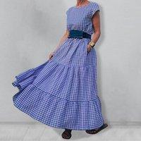 Günlük Elbiseler Zanzea Zarif Ekose Fırfır Vestidos kadın Kolsuz Cep Robe Vintage Yaz Kadın Şık Uzun Maxi Elbise Artı Boyutu 5