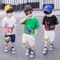 Boys Clothing Sets Baby Suit Children Outfits Kids Clothes Summer Short-Sleeved T-shirts Casual Tracksuit Shorts Pants 2Pcs B6192