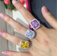 Ювелирные изделия принцесса вырезать 14kt белое золото заполнено 10КТ топаз драгоценные камни 192шт. Diamond Wedding Женская группа кольцо установить WJL2605