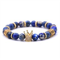 Crown fast shipping Black CZ King Zirconia Gold Charm Men Stone Bead Bracelet valentine mens jewelry 2019 fash