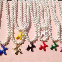 Chokers Korean Candy Color Cartoon Dog Puppy Pearl Beaded Necklace For Women White Baroque Choker Handmade Boho Summer Y2K Jewelry