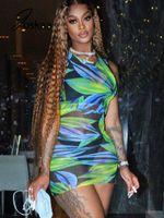 Print Mesh See Through Women Dresses Summer Sexy Sleeveless Bodycon Mini Fashion Night Club Party Designer For