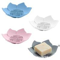 4 colores Platos de jabón de silicona Creative Lotus Shape Placa de almacenamiento portátil Drenaje de jabones Holder Herramienta de ducha DHF8371