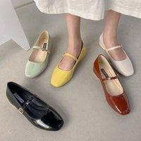 Dress Shoes Sapatos de salto baixo couro artificial, saltos quadrados com alça, fivela rasa, primavera e outono, 8828n MF69