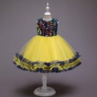 2022 스팽글 핑크 그린 블루 레드 라인 플라워 여자 드레스 파티 키즈 댄스 파티 드레스 공주 대회 이브닝 가운