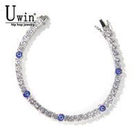 Uwin Tennis Bracelet 4mm Turkish Blue Eyes AAA CZ Iced Out Luxury Bangles Women JewelryONAQ