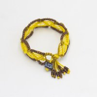 Charm Bracelets Chinese Style Handmade Oblique Winding Knot Women's Ethnic Retro Beaded Rice Bead Ceramic Girl Bracelet Accessories