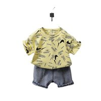 Tiktok Kinder Jungen Shorts Set zweiteilig Sommer Outfit Baby Kleinkind Designer T-Shirt und kurze Jeans Denim Hosen Houss Trainingsanzug Casual Bekleidung Sportanzug G59IPG6